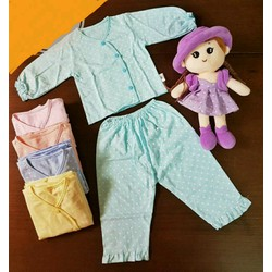 Bộ Quần áo tay dài màu chấm bi cho bé