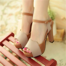 Giày cao gót hở mũi H.Q phối màu quý phái