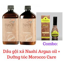Combo Dầu gội  xả Nashi Argan + Dưỡng tóc Morocco Care