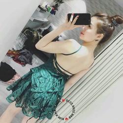 Đầm ren đan dây