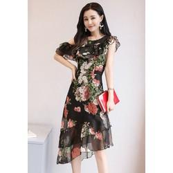 Hàng nhập-Đầm suông hoa hồng vạt xéo vai cutout cách điệu M,L,XL,2XL