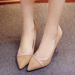 Giày cao gót bít mũi phối viền da bóng cao cấp