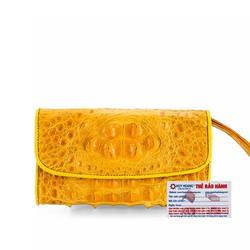 Ví nữ da cá sấu Huy Hoàng 3 gấp nguyên con màu vàng nghệ
