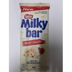 Socola trắng nhân trái cây tươi dâu việt quất Nestle Milky 180gr