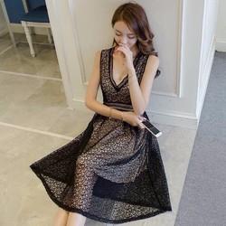 Đầm xoè ren cổ V hàng thiết kế