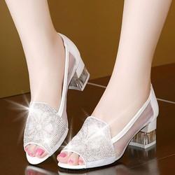 Giày búp bê hở mũi thời trang phong cách Hàn