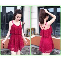 đầm ren đỏ 2 dây sexy