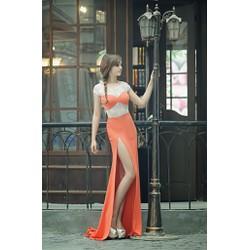 Chuyên sỉ - Váy dạ hội cam phối ren xẻ đùi cao tôn dáng
