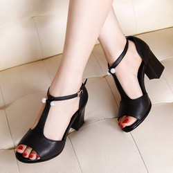 Giày cao gót hở eo da đính hột trang trí đá cao cấp