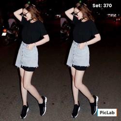 set váy cotton trong kèm chân váy jean ngoài
