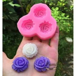 Khuôn Silicon Rau Câu Hoa Nổi - Hồng nhỏ 3 hoa