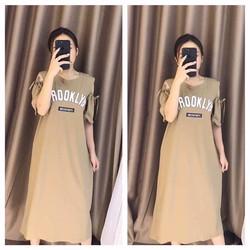 Đầm suông thun khoét vai in chữ