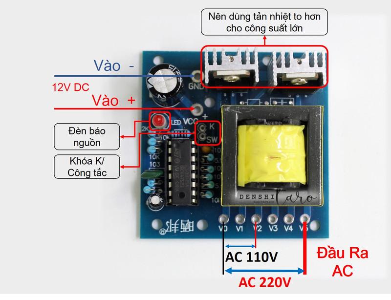 Mạch biến áp inverter DC-AC 12V-110V-220V 150W D00-009 2
