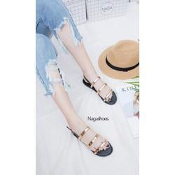 Giày sandal 3 dây tán vàng