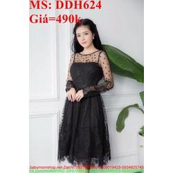 Đầm dự tiệc đen sang trọng phối tay lưới chấm bi DDH624