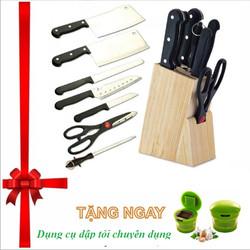 Bộ Dao Inox 7 món có  hộp gỗ để dao tặng dụng cụ dập Hành Tỏi