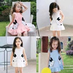 Đầm bé gái họa tiết thỏ xinh xắn