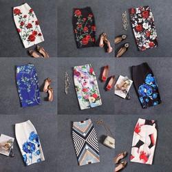 Chân váy hoa bút chì