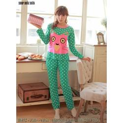 bộ đồ ngủ dài thun cotton mềm mịn mát hàng quảng châu - B452
