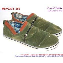 Giày lười nam phối khóa kéo phong cách bụi bặm GX35
