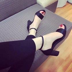 Giày sandal cao gót nữ gót bọc kim tuyến - LN1297