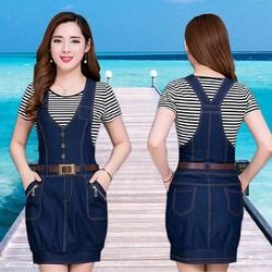 Đầm Jean Yếm Bí Phối Nút Túi Dây Kéo Thời Trang TP1418 AB0