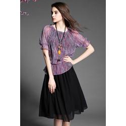 Hàng nhập-Đầm xòe bo eo áo sọc cổ nhún size M,L,XL-RMS01705