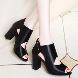 Giày gót vuông nữ da phối nút - LN1294