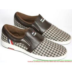 Giày xỏ nam kẻ sọc caro phong cách trẻ trung năng động GX14