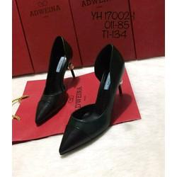Giày cao gót ngọc màu rêu mũi đen