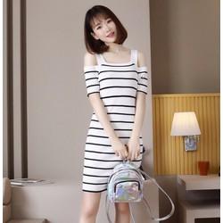 Đầm ôm len sọc trễ vai cực xinh DON5053 - Hàng nhập loại 1