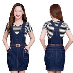 Đầm jean yếm bí phối nút túi dây kéo thời trang