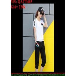 Sét thể thao nữ quần lửng phối sọc màu xì teen QATT465