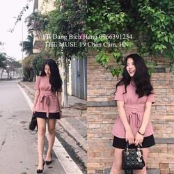 set áo hồng cột nơ + chân váy