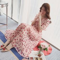 Hàng nhâp loại 1 - Đầm maxi Cherry hồng dịu ngọt - DM062