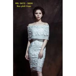 Đầm Ren Cao Cấp Trễ Vai Phối Voan
