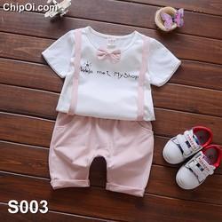 Set quần áo cho bé trai dễ thương giả dây đai kèm nơ cổ giá rẻ
