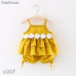 Set quần áo họa tiết hoa hướng dương cho bé gái xinh đẹp giá rẻ
