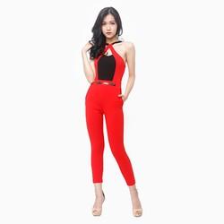 Jumpsuit thời trang phối màu sang trọng màu đỏ