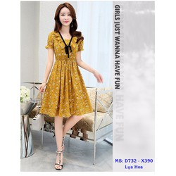 Đầm Xòe Hoa Eo Thun Cột Nơ