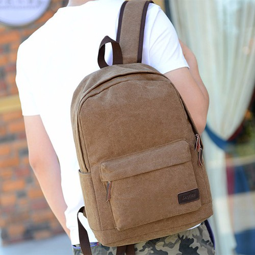 Balo đi học đi chơi nam nữ vải bố màu trơn n114