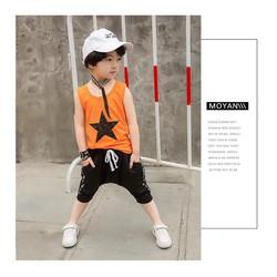 Set bộ đồ bé trai ba lỗ, quần thụng ngôi sao