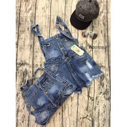 Yếm short jean rách nút hàng thiết kế -MS: S220746 GS 130k