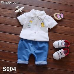 Set quần áo cho bé trai dễ thương in họa tiết xích đu giá rẻ