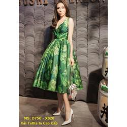 Đầm Xòe In Hoa Cao Cấp Đẹp Như Hoa Hậu