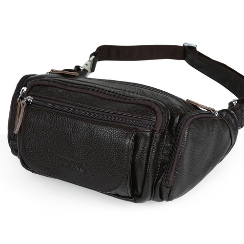 Túi đeo bụng da bò nam BigBang 394