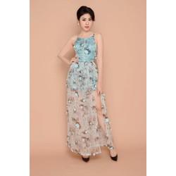Đầm Maxi Kết Hoa Nổi Cổ Yếm Xẻ Tà - Xanh