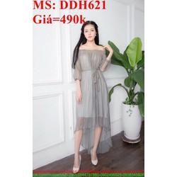 Đầm dự tiệc bẹt vai phủ lưới sành điệu và xinh đẹp DDH621
