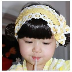 Băng đô mái tóc giả nơ vàng cho bé 5 tháng đến 15 tháng HỒNG