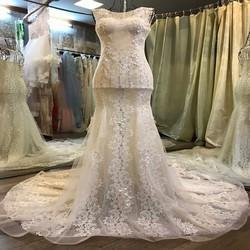 Váy cưới tôn dáng, ren ẩn màu da